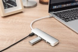 HUB/Koncentrator 4-portowy USB 3.0 SuperSpeed z Typ C Power Delivery, aluminium